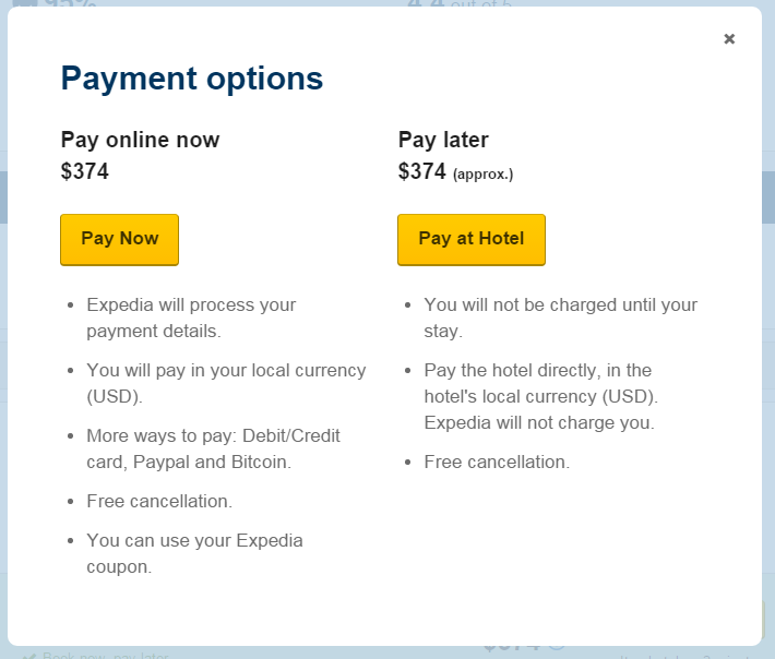 expedia book now pay later review